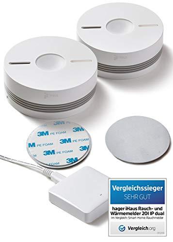 Rauchmelder 2ER Set - Funk Vernetzbar + Dual Version + WLAN Gateway + Magnethalterung + Lithium 10...