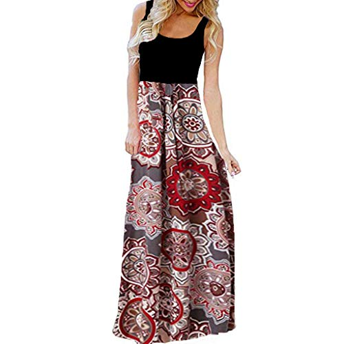 VJGOAL dames jurk zomer elegant sexy grote maten maxi strandjurk vrije tijd mouwloos printsjurk voor vrouwen