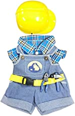 """NEW Construction Worker with Hard Hat Outfit Teddy Bear Clothes Fit 14\\"""" - 18\\"""" Build-a-bear, Vermont Teddy Bears, and Make Your Own Stuffed Animals"""