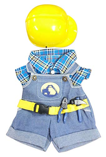 """NEW Construction Worker with Hard Hat Outfit Teddy Bear Clothes Fit 14"""" - 18"""" Build-a-bear, Vermont Teddy Bears, and Make Your Own Stuffed Animals"""
