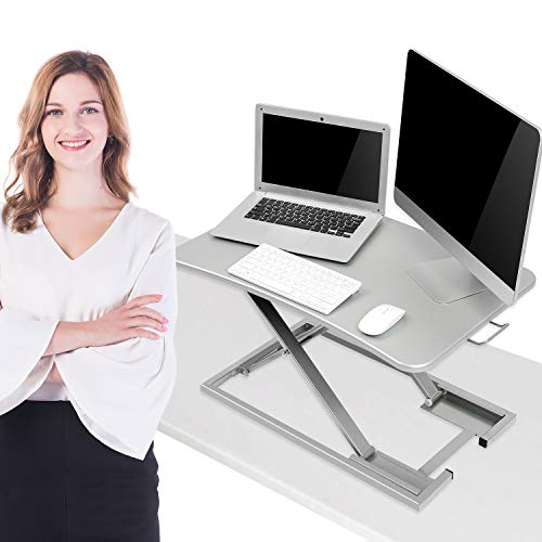 KICODE Height Adjustable Standing Desk Converter, Sit to Stand Desk Riser, Stand Up Desk Riser, Ergonomic Home Office Computer Workstation, Gray