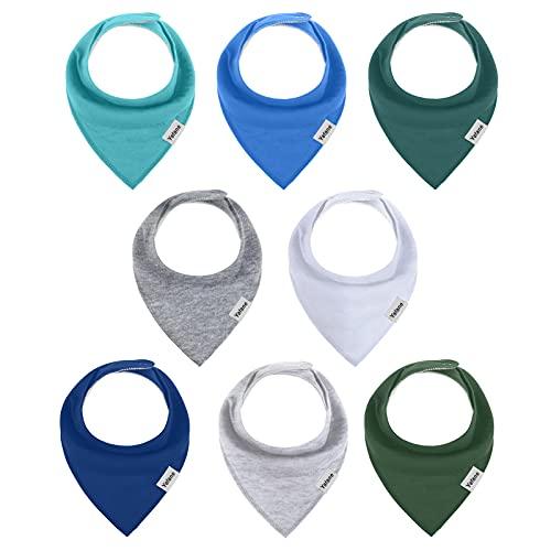Yafane Baby Dreieckstuch Lätzchen 8er Halstücher Spucktuch Baumwolle Saugfähig Weich für Baby Jungen Kleinkinder (Junge)
