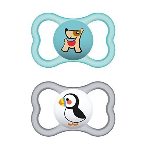 MAM Supreme Schnuller im 2er-Set, Babyschnuller für eine gesunde Zahn- und Kieferentwicklung, beugt Hautreizungen vor, mit Schnullerbox, 6-16 Monate, Hund/Pinguin