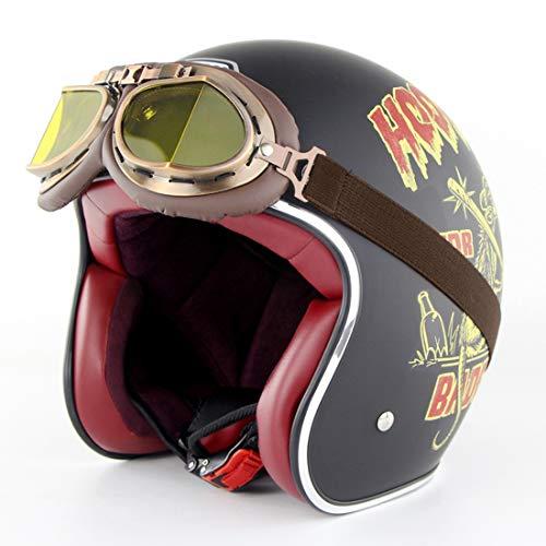 Ye Wang Casco Moto Vintage Aperto-Face, Harley Helmets 3/4 Casco Moto Chopper Bike Certificazione D.O.T, Occhiali distribuzione, Lucky13,M56~57cm