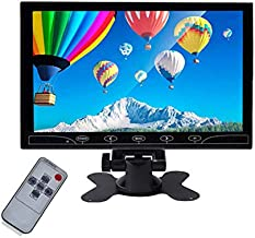 Beyi 10.1'' inch Monitor Small Portable Color Display Screen, 1024X600 LED Screen Bracket&Remote Control with HDMI/VGA/AV Input Built-in Speakers for DVR PC, Security Camera, Raspberry Pi, TV Box