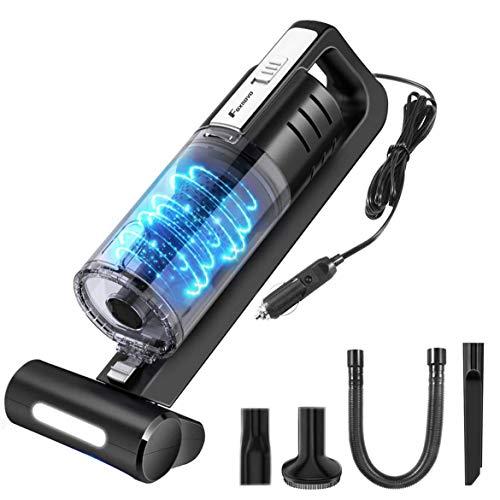 Foxnovo Auto Staubsauger mit LED Licht, 6000PA Starke Saugleistung Geräuscharmer, Nasser/Trockener Portable Handheld Handstaubsauger für KFZ, waschbarem HEPA Edelstahl Filter