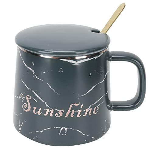 Taza de cerámica, taza de originalidad, taza de mano, taza de té de leche con cuchara y tapa para oficina, regalo para niño, niña, amante(Green spoon with lid)