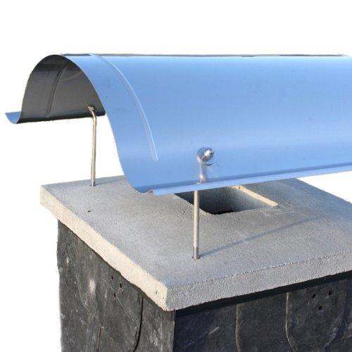 Schornsteinabdeckung, Schornsteinhaube, Kaminabdeckung aus Edelstahl Typ Sylt, handgefertigt in allen Größen möglich. Hier für quadratische Kaminköpfe 50-55 cm