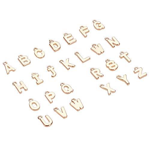 PandaHall Elite - Abalorios de letras del alfabeto de la A a la Z, 26 unidades, cuentas sueltas para pulseras, collares, joyería