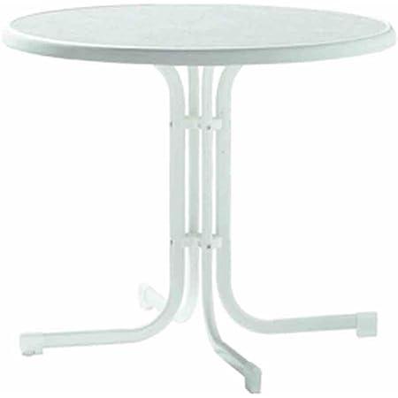 weiß Stahlrohrgestell MFG Boulevard-Tisch Ø 85 cm Sevelit-Tischplatte klappba