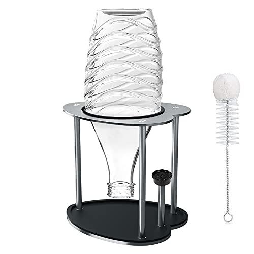 1er Abtropfhalter,304 Edelstahl Flaschenhalter Kompatibel mit SodaStream Glaskaraffen Soda Flaschenhalter Abtropfständer Abtropfgestell mit Flaschenbürste + Abtropfmatte für Crystal, Glasflasche