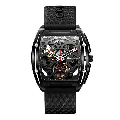 CIGA Design Z-Series Reloj de pulsera mecánico automático de silicona con esfera DLC esqueleto de acero inoxidable con cristal de zafiro sintético para hombre