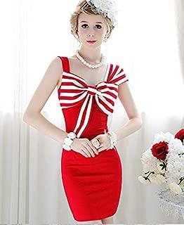 Asymmetric Bowknot Slim Dress For Female (red) Elegant Sleeveless Dress