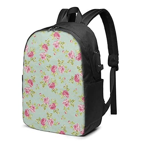 BYTKMFD Mochila de viaje con patrón floral para ordenador portátil, mochila escolar antirrobo, para hombre y mujer con puerto de carga USB de 17 pulgadas, Negro, Talla única