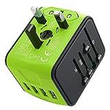 JMFONE International Travel Adapter Universal Power Adapter Worldwide All in One W/Smart High Speed 2.4A 4 USB Perfect for European US, EU, UK, AU 160 Countries (Green)