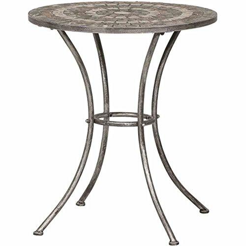 Siena Garden 380787 Tisch Felina, Ø70x71cm, Gestell: Stahl, pulverbeschichtet in silber-schwarz, Fläche: Mosaik,Tischplatte: Keramik, Mehrfarbig