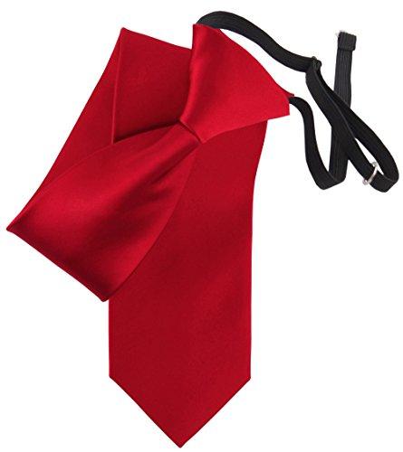 TigerTie Security Satin Seidenkrawatte verkehrsrot rot Uni gebunden mit Gummizug in schwarz - Sicherheitskrawatte/Securitykrawatte Seide
