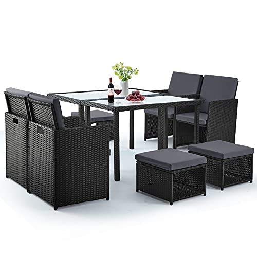 10 Pieces Patio Dining Sets, Outdoor Space Saving Dining Table Set, Wicker Rattan Furniture with Ottoman & Table, for Garden, Patio, Balcony, Beach, Backyard(Grey