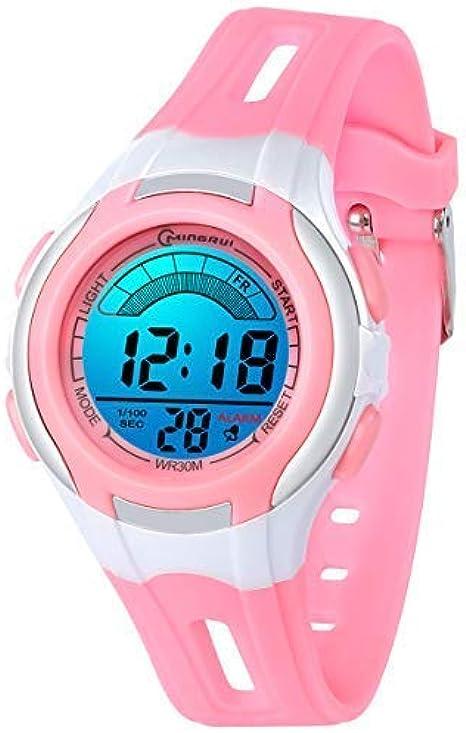 Digitales Relojes para Niñas Niños,7 Colores Reloj Infantil de Pulsera LED Niños Deportes Impermeables Multifuncionales para Exteriores con Cronómetro/Alarma para Edades de 4-15