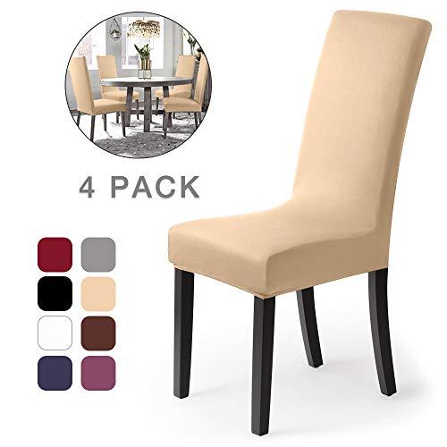 Stuhlhussen 4 Stück, Stretch-Stuhlbezug elastische moderne Husse Elasthan Stretchhusse Stuhlbezug Stuhlüberzug . bi-elastic Spannbezug, sehr pflegeleicht und langlebig Universal(4Stück,Creme-Natur)