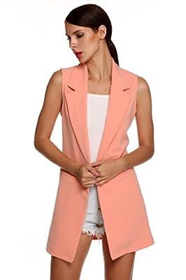 Meaneor Women's Sleeveless Lapel Pocket Long Jacket Waistcoat Cardigan Outwear (Small, Pink(FBA)) by