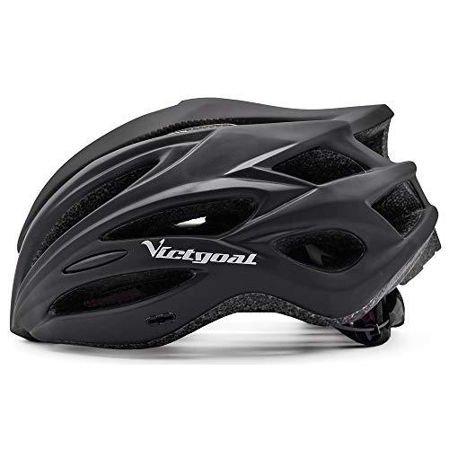 VICTGOAL 自転車 ヘルメット大人用 ロードバイク/サイクリング ヘルメット 超軽量 高剛性 LEDライト・男女兼用 ヘルメット通気 サイズ調整可能 57-61CM M/L (ヤグァン黑)