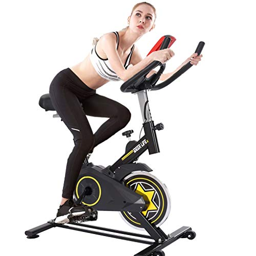【US Stock】 Exercise Bike, goalBY Indoor Exercise Bike Fitness Stationary Indoor Spinning Bike Cycling Belt Drive with LCD Monitor for Home Cardio Workout Bike Training