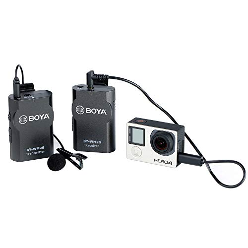 BOYA WM2G Lavalier Wireless Microphone with GoPro Cable Adapter for GoPro Hero3 Hero3+ Hero4 iPhone X 8 8 Plus iPad Tablet DSLR Camera Sony Camcorder Podcast Vlogging Street Interviews YouTube Video