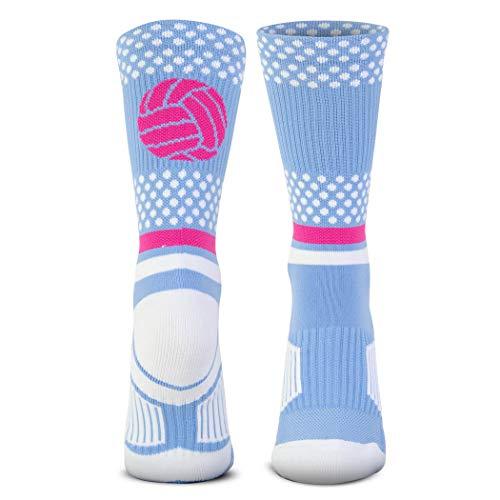 Volleyball Woven Mid-Calf Socks | Tropic Neon | Light Blue & Pink