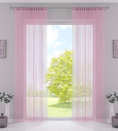 2er Set Fadengardine, HxB 250x140 cm, Rosa mit Tunneldurchzug und eingenähtem Kräuselband, geeignet für Gardinenstangen und Gardinenschienen Fadenvorhänge Fadenstores Raumteiler, 20303CN2