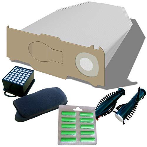 18 Staubsaugerbeutel + Hepafilter + Motorfilter + Bürsten EB 350/351 + 10 Duftis geeignet für Vorwerk Kobold 130, 131 von Staubbeutel-Profi®