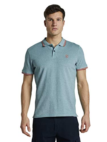 TOM TAILOR Herren Tipping Polo Polohemd, 21332-green Two Tone Pique, L
