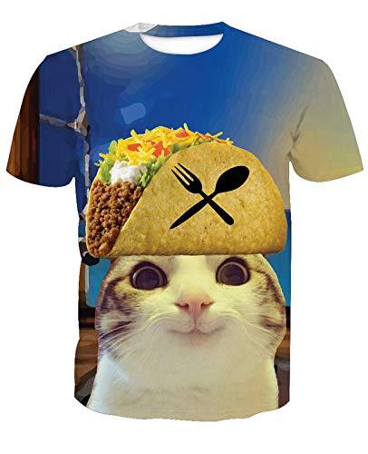 Camiseta 3D para hombre para playa, hamburguesa, gato, fútbol,...