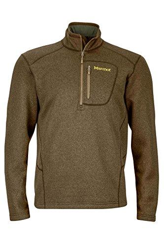 Marmot Men's Drop Line 1/2 Zip Pullover Lightweight 100-Weight Sweater Fleece Jacket, Deep Moss , Large