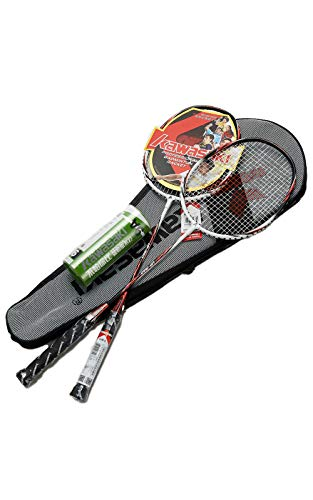 Kawasaki- 2 Player Badminton Racquets Set Double Rackets Aluminum Shaft Badminton Racket Set- 1 Carrying Bag Included(White/red…