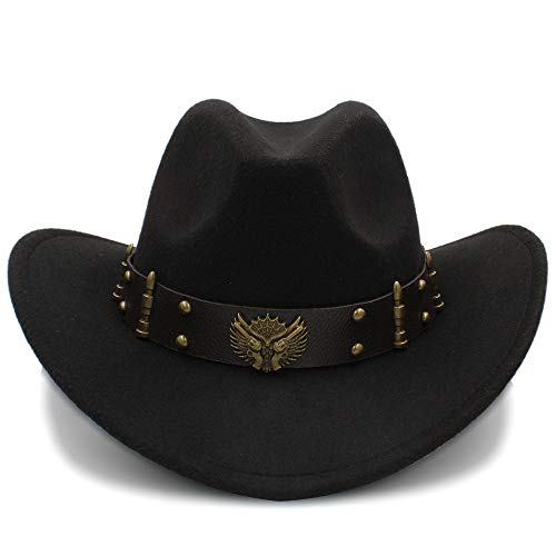 SSLA 2018 Damen Herren Unisex Vintage Wollfilz Cowboy Breiter Krempe Bowler Hut Türkis Braid Band (57cm) (Farbe : Schwarz, Größe : 56-58cm)