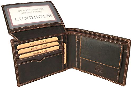 Lundholm heren portemonnee leer bruin portemonnee heren pasjes houder premium kwaliteit