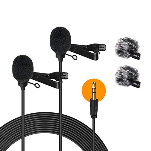 Comica Lavalier Mikrofon Doppelkopf, Dual Ansteckmikrofon 2.5m Omnidirectional Microphone mit Windschutz, 3.5mm TRS/TRRS für Smartphone iPhone Huawei Samsung, PC, Kamera DSLR Camcorder CVM-D02