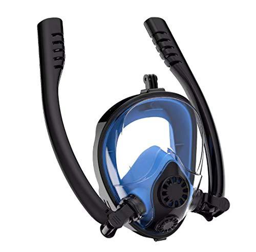 DUBAOBAO Gezicht Snorkel Masker Dubbele Buis Easybreath Snorkeling Masker met Camera Mount Anti-Fog Anti-Leak 180° Gezicht Duikmasker voor Volwassenen en Kinderen(3 kleuren)