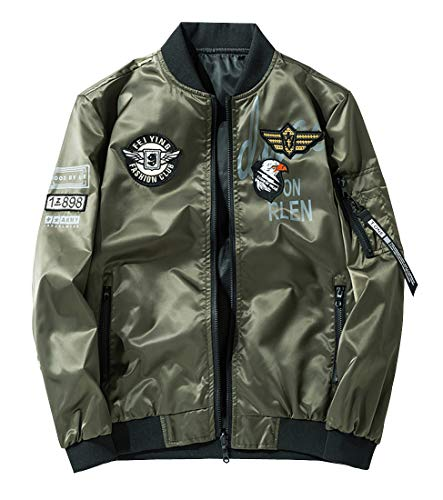 Men's Lightweight Reversible MA-1 Flight Bomber Jacket Casual Spring Fall Winter Jackets Military Outerwear with Patches