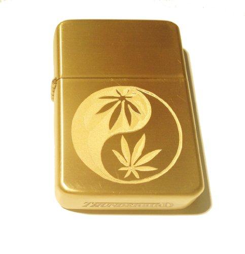 Vector KGM Thunderbird Custom Lighter - YIN Yang Marijuana Pot Weed Ganja Leaf Logo Brushed Brass Polish Chrome Rare!