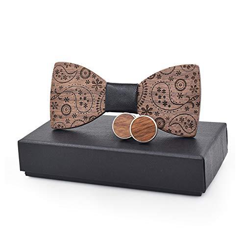 Happy-L 2019 3D DIY Holz Herren Damen Holz Fliege Druck Krawatte Manschettenknöpfe Mode Taschentuch Business Knot Hochzeitsessen (Farbe : Schwarz, Größe : 5 * 9.5cm)
