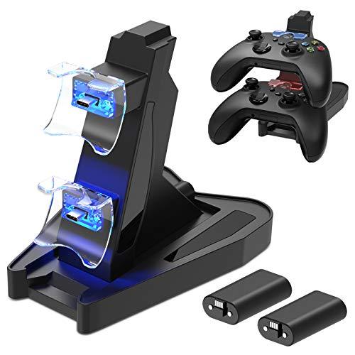 Dual Chargeur Station pour Manette Xbox Series X S, Support Accessoire de Chargement pour Xbox Series S X avec Batteries Rechargeables 2X1400 mAh et Câble de Chargement de Port USB C