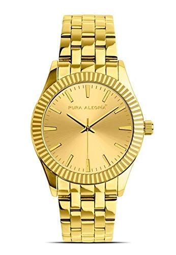 Reloj Pura Alegría - Jaguar Gold - Analógico Mujer Dorado con Esfera Dorada y Cadena de Acero