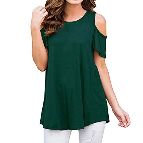 DOLAA Camiseta de Manga Corta Informal con Hombros Descubiertos para Mujer Blusas Sueltas Camiseta con Hombros Vestido Informal con Columpio Camisetas de Color Liso con Cuello Redondo Jersey