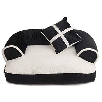 LA VIE Cama Sofá para Mascotas Lavable Extraíble con Almohada Colchoneta Cama Nido Suave Acogedor para Perros Pet Dog Bed M/L en Marrón/Roja/Negro
