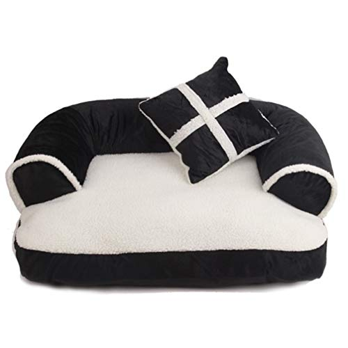 LA VIE Hianiquaime Pet Bed Soft and Cozy Dog Sofa Bed with Removable Washable Cover Joint-Relief and Improved Sleep for Cats and Small Medium Dogs Puppies with Gift Black L