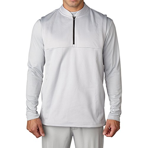 adidas Golf 2016 Climawarm™ 1/4 Zip Debossed Iconic Gilet Breathable Insulation Mens Golf Vest Stone Medium
