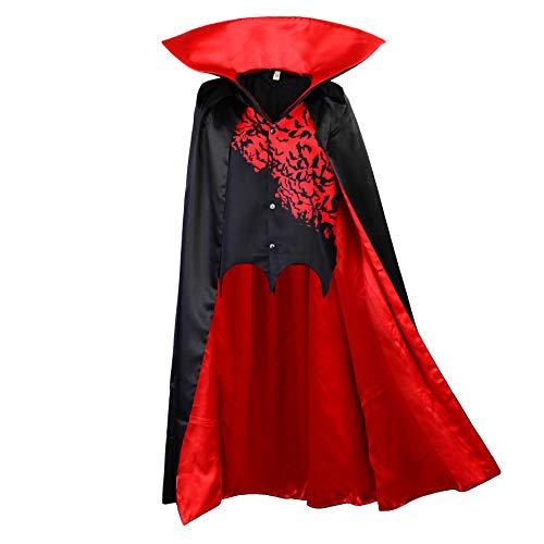 papapanda Vampir Umhang mit Weste Kinder Stehkragen Schwarz Rot Dracula Halloween Cape Kostüm Karneval Fasching Verkleidung Kleid (128)