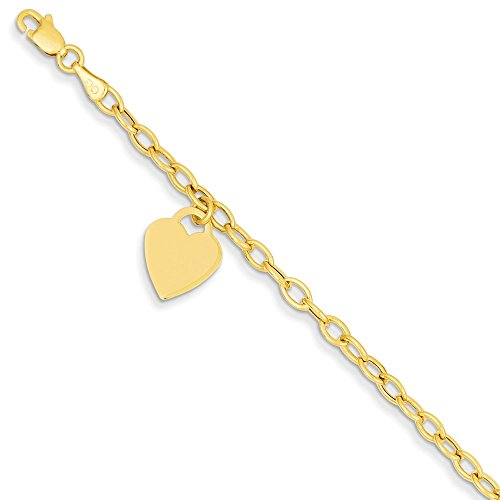 14k Yellow Gold Dangle Heart Bracelet 8.5 Inch Charm W/charm/love Fine Jewelry For Women Gifts For Her